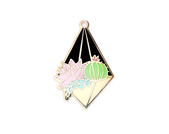 Night Terrarium Enamel Pin (hanging terrarium succulent pin hard enamel pin lapel pin badge enamel jewelry cute cactus jewelry backpack pin)