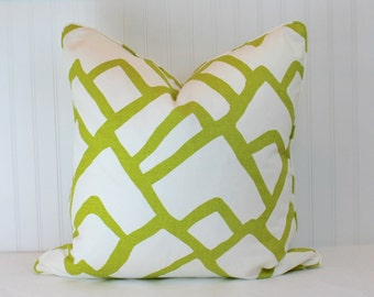One or Both Sides - ONE Schumacher Zimba Chartreuse Pillow Cover with Self Cording