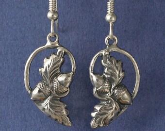 Acorn Oak Leaf Sterling Silver Earrings