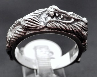 Asian Dragon Band In Sterling Silver