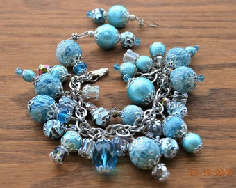 Charm Bracelet & Earrings,Hues of Shiny Turquoise,Handcrafted,Baby Blue,Indigo,Denim, Icy White 50's Vintage Japanese Spun Cotton Ball Beads