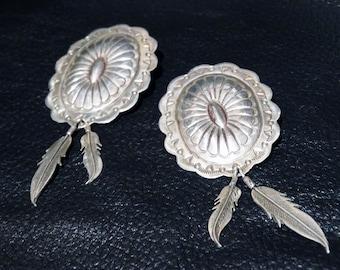 Sterling Concha Earrings Vintage HUGE Gorgeous