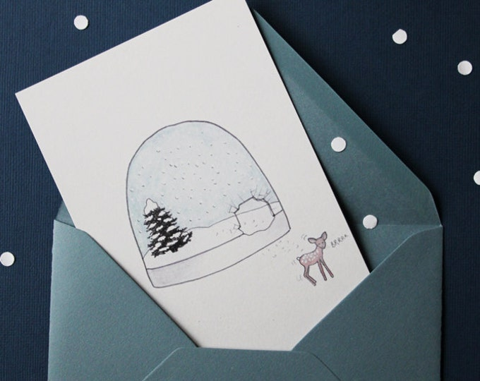 """Illustrated greeting card """"snow ball"""" - ink & watercolor - snow + Fawn - envelope grey"""