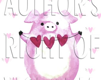 piggy, Piglet with oil, Valentine's day card