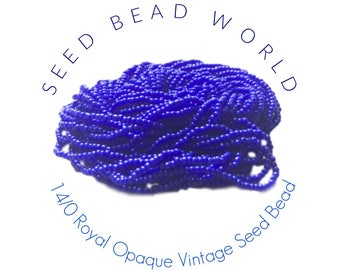 15% Off Royal Blue Size 14 Seed Beads  14/0 Royal Blue Seed Beads  Blue Vintage Glass Beads Superior Quality Beads Vintage Seed Beads