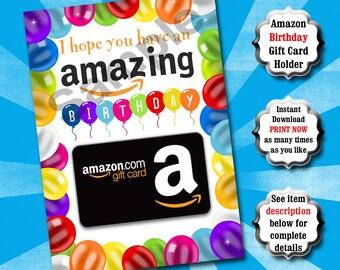 Birthday Gift Card Holder PRINTABLE, Birthday Card, Amazon Gift Card Holder, Last Minute Gift, Amazon Birthday, Birthday Balloons, Birthday