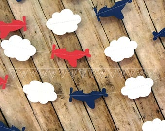 Airplane Paper Garland, Plane and Cloud Banner, Airplane Theme Party Decorations, Airplane Baby Shower, Travel Party Decorations,