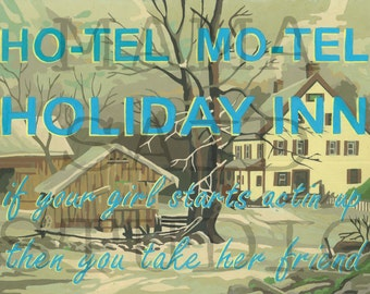 8 x 10 Print of Original Vintage Paint By Number PBN Hotel Motel Holiday Inn