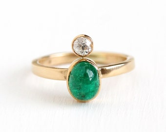 Emerald & Diamond Ring - 14k Rosy Yellow Gold Size 5 1/2 Cabochon Green Gemstone Fine Stick Pin Conversion - 1/5 CT Old European Jewelry