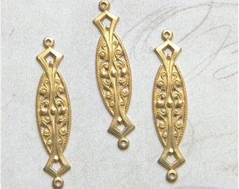 Raw Brass Connector, Art Nouveau Link, Brass Stamping, 9mm x 38mm - 6 pcs. (r198)