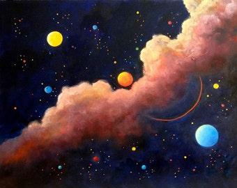Painting Moon Galaxy, Luna, Stars, Moon Painting, Wall art, Space art,