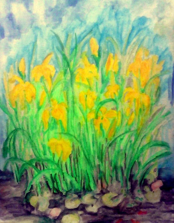 "Archival PRINT of Original Watercolor Plein Air Painting, ""WATER IRISES,"" by Award Winning Artist Stacey Torres"