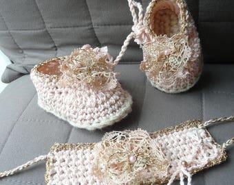 Shoes & head band gold powder pink theme 100% original