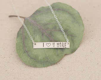I Love You More Bar Necklace, Sterling Silver Love You More Necklace, I Love You More Silver Necklace, Heart You Bar Necklace, Love Jewelry