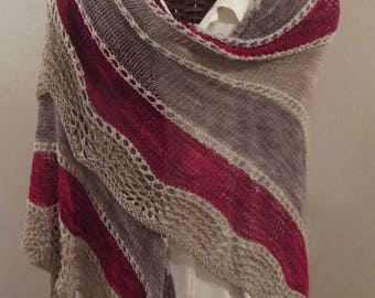 Red/Taupe/Beige Scalloped Shawl