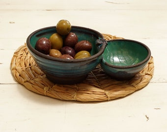 Free shipping, Olives and pits dish, Ceramic ware for serving olives, Blue dish for olives and pits, Handmade pottery, Serving ware,