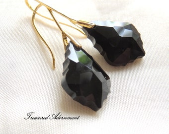 Bridesmaids Earrings, Black Baroque Crystal Drop Earrings, Gold, Wedding Party, Maid of Honor, Holiday Christmas Gift, Thank you gift