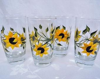 Beverage glasses, Sunflower glasses, set of 4, hand painted glasses with sunflowers, sunflowers, home decor