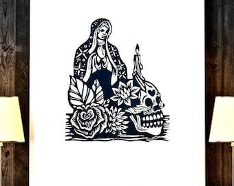 Virgen de Guadalupe Mexican Art, Virgin de Guadalupe Mexican Wall Art, Virgen of Guadalupe Mexican Folk Art, Latino Mexican Decor, Latina