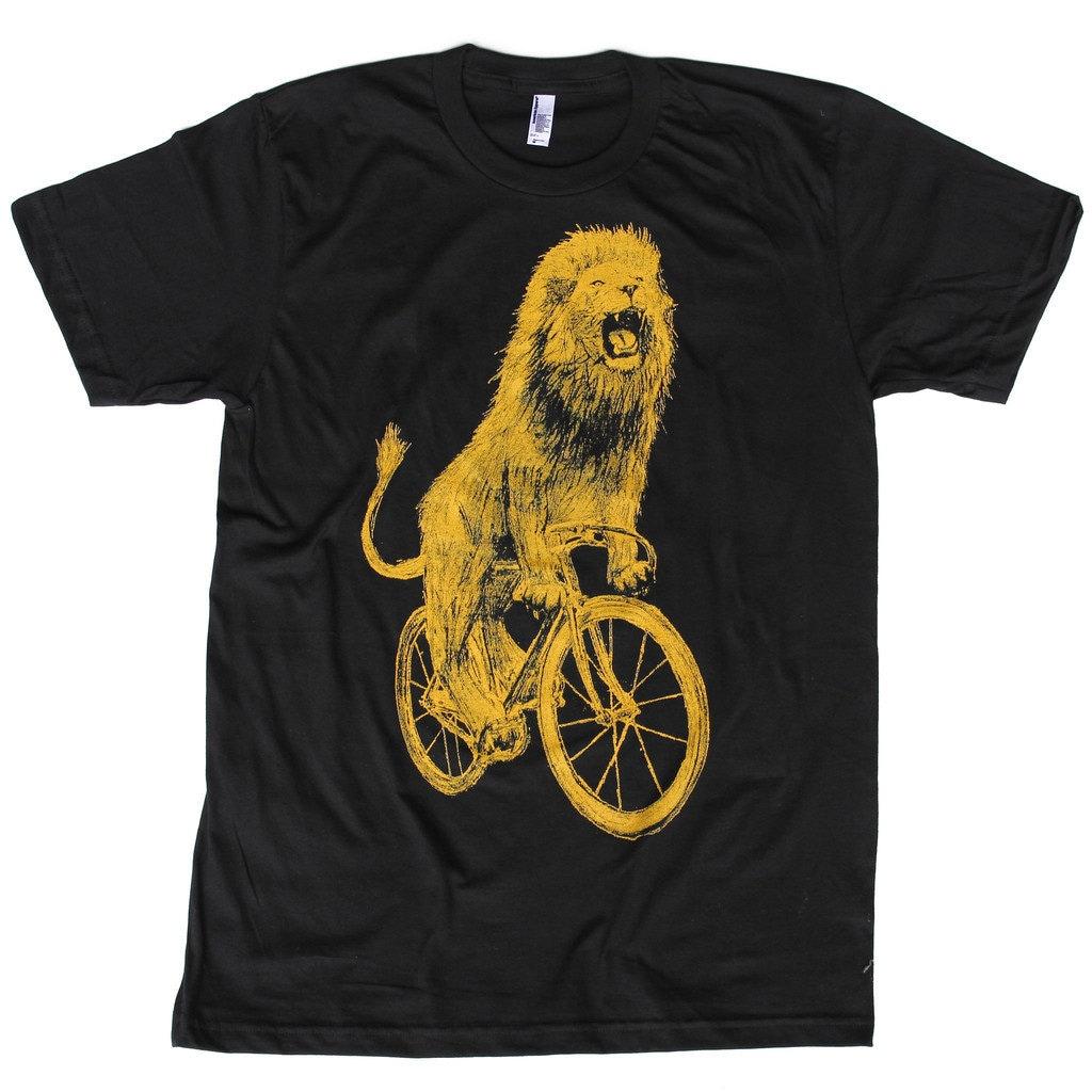 Lion on a Bicycle - Mens T Shirt, Unisex Tee, Cotton Tee, Handmade graphic tee, Bicycle shirt, Bike Tee, sizes xs-xxl