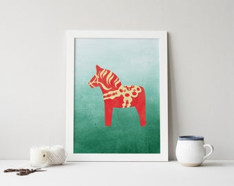 dala horse printable · scandinavian wall art print · nordic print · watercolor art · christmas print · swedish art print · holiday print