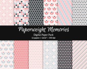 "Digital patterned paper - Pink Tulips -  digital scrapbooking - scrapbook paper - 12x12"" 300dpi  - Commercial Use"