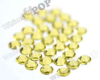 SS12 - 250 PACK of Jonquil Yellow 14 Facet Resin Rhinestones, SS12 Resin Flatback Rhinestones, 3mm Resin Rhinestones