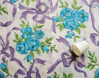 blue roses and lavender bows vintage cotton blend fabric -- 44 wide by 32 inches