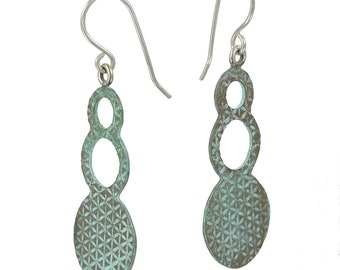 Rustic Blue-Green Patinated Bubble Textured Dangles