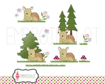 Fawn machine embroidery design set. 4 adorable baby deer embroidery and modular add on designs. Pretty woodland embroidery.