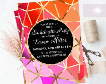 Geometric Bachelorette Invite, Bachelorette Party, Hen's Night Invite, Modern Invite, Pink, Orange, Printable Invite, Gold,  jadorepaperie