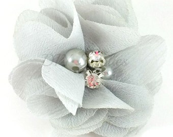 "2"" Light gray chiffon rhinestone and pearl flower - Petite fabric flowers - Small flowers - Gray flowers - Wedding flowers - Pick 1 or 3"