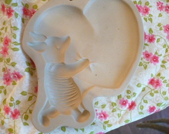 Winnie The Pooh Piglet Ceramic Stoneware Cookie Mold, Baking Mold, Baked Good, Children's Party Cookie Mold, Decorative Mold, Recipe Booklet