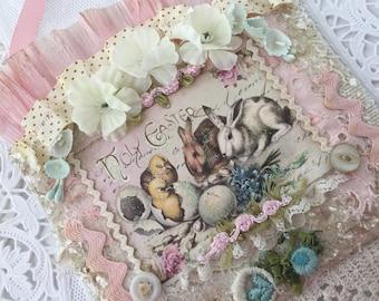 Vintage Easter Collage, Easter Decor, Shabby Bunny Gift,  Easter Rabbit, Shabby Easter Gift, Vintage Wall Hanging