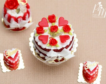 MTO-Red Rose and Hearts Valentine's Cake - Miniature Food in 12th Scale for Dollhouse