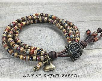 Owl Bracelet/ Boho Beaded Wrap Bracelet/ Seed Bead Leather Wrap Bracelet/ Leather Bracelet/ Bohemian Bracelet/ Boho Wrap Bracelet.