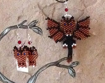 Black and Orange Dragon Necklace & Earrings Set, Fun Whimsical Beaded Dragons, Guardian Dragons for Gamers, Geeks, and Dragon Fans