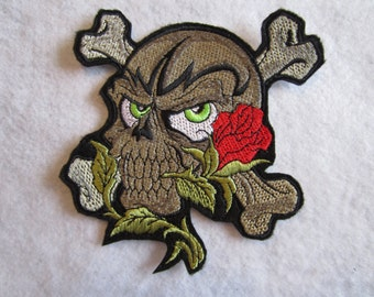 Embroidered Skull And Rose Iron On Patch, Skull Patch, Skull And Rose Patch, Skeleton Patch