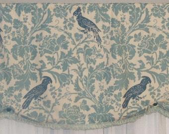 Window Valance, Bird, Flowers, Teal Bird, Natural, Fringe, Premier Prints Barber Natural/Village Blue