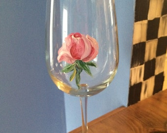 Hand Painted Wine Glass/ Rose Bud