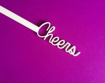 Cheers Swizzle Sticks, Drink Stirrer, Perfect Weddings, Bridal Shower, Engagement Party, Stir Sticks, Bachelorette,Laser Cut, 50 Pk