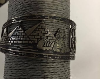 Vintage  Sold  Silver Egyptian Bracelet Stamped Made In Egypt One Of The Kind