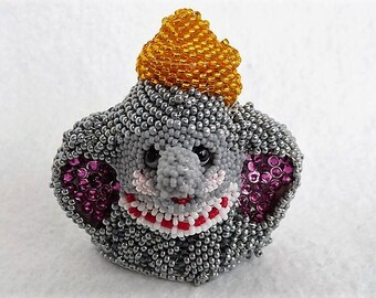 Dumbo Elephant Art Figurine Beaded Collectible Charity Donation Free Shipping