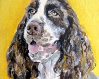 Original Custom Dog Portrait Painting from your own photo, oil painting on canvas, pet portrait, animal, example Spaniel