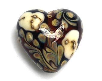 Dark Brown/Ivory Heart Focal Bead - Handmade Glass Lampwork Bead 11809705
