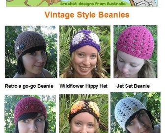 Vintage Style Beanies - crochet patterns