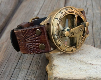 Leather sundial compass wrist watch, Mens, Womens Steampunk Sundial Compass Wrist Watch, NAUTICAL sundial sompass wrist  watch