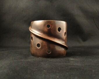Copper cuff bracelet.  Industrial steampunk design. Unisex. ON SALE NOW