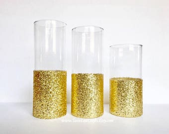 Gold Dipped Vases,Gold wedding decor glitter dipped vases, Glitter Vase, Cylinder Glass Vase, Gold Centerpieces, Wedding Vases, Gold Vase.