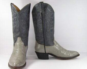 vintage cowboy boots mens 10.5 D gray blue western leather cowtown dallas cowboys